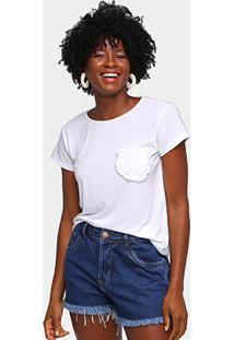 Camiseta Volare Bolso Babados Feminina - Feminino-Branco