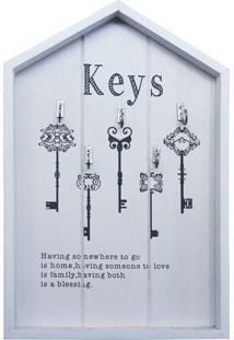 Porta Chaves Keys Branco Em Madeira Kasa Ideia - Tricae