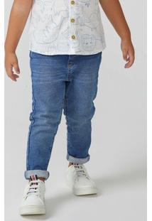 Calça Moletom Jeans Infantil Menino Skinny Toddler