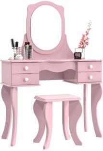 Penteadeira Princesa Com Espelho Rosa