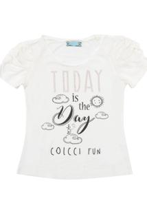 Camiseta Colcci Fun Manga Curta Menina Branca