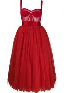 Dolce & Gabbana Vestido De Tule Com Bustier - Vermelho