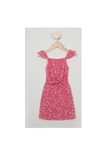 Vestido Infantil Estampado Floral Alça Fina Com Babado Decote Reto Rosa