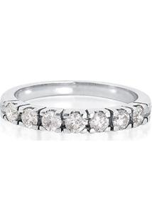 Meia Aliança De Ouro Branco Com Diamantes-Coleção True
