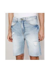 Bermuda Jeans Masculina Slim Com Rasgos E Barra A Fio Azul Claro