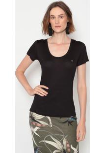Camiseta Lisa Com Bordado - Preta & Cinza - Forumforum