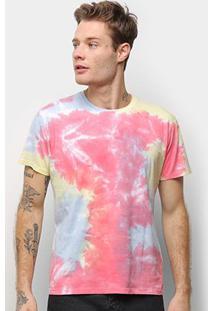 Camiseta Energia Natural Tie Dye Feminina - Unissex-Azul+Pink
