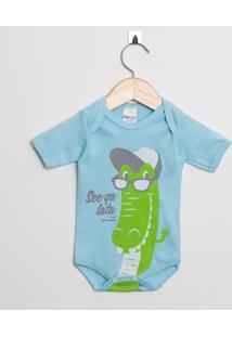 Body Bebê Manga Curta Menino Suedine Azul Claro Jacaré