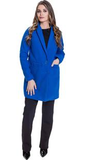 Casaco Sobretudo Jaqueta Lã Batida Carbella Longo Azul Klein