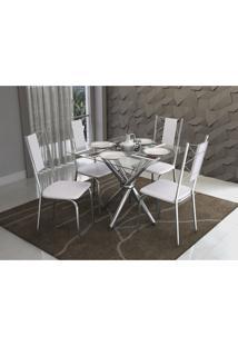 Conjunto Mesa Volga Com 4 Cadeiras Lisboa Branco E Cromado Kappesberg Crome - Branco - Dafiti