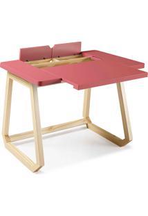 Escrivaninha Rosa Bebe - Mesa Para Computador Hush 94X77,5X73,5Cm - Taeda E Cor Rosa Bebe