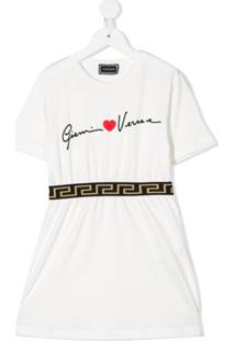Young Versace Vestido Com Estampa Gráfica - Branco
