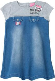 Vestido Com Aplicação Patch Azul