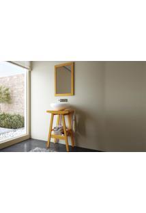 Conjunto De Móveis Para Banheiro - Cavalete-Bancada Compacta Com Espelho Em Madeira Maciça Borneo - Stain Jatobá