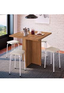 Conjunto De Mesa De Cozinha Com 4 Lugares Verona Tecido Madeira E Off White