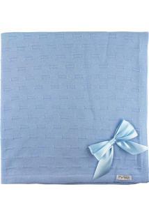 Manta De Tricot Michele Baby Para Bebê Azul Claro Risquinhos Com Laços
