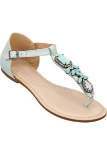 Rasteira Sandalo Clave De Fa Feminina - Feminino-Azul Claro