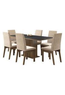 Conjunto Sala De Jantar Madesa Cecília Mesa Tampo De Madeira Com 6 Cadeiras Rustic/Preto/Fendi Rustic