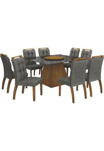 Mesa De Jantar Grécia Prato Giratório 140Cm Com 8 Cadeiras Canela / Linho Cinza