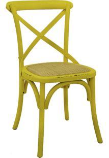 Cadeira Decorativa Sala De Jantar Cozinha Danna Rattan Natural Amarela- Gran Belo - Amarelo - Dafiti