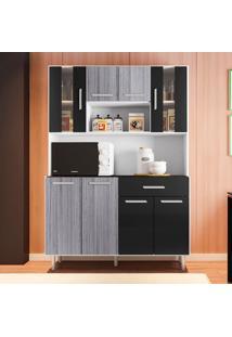 Cozinha Compacta Com Tampo Gabi - Poliman - Branco / Cinza / Preto