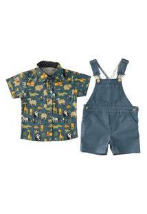 Camisa Estampada Safari + Jaerdineira Sarja Azul Mabu Denim