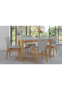 Mesa Com 4 Cadeiras De Jantar Tucupi 120Cm - Acabamento Stain Nózes E Cinza Concreto