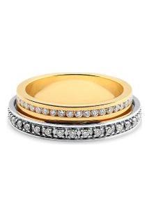 Aliança De Casamento Ouro Amarelo E Branco Com Diamantes (5Mm)