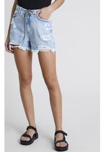 Short Jeans Feminino Cintura Super Alta Destroyed Com Cadarço Azul Claro
