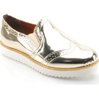 176a2e3d67 Sapato Oxford Feminino Metalizado - Feminino-Dourado