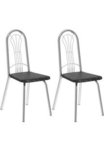 Conjunto 2 Cadeiras Del Vito Carraro Fantasia Preto