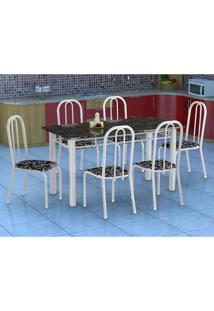Conjunto De Mesa Granada Com 6 Cadeiras Madri Branco E Preto Floral Gr