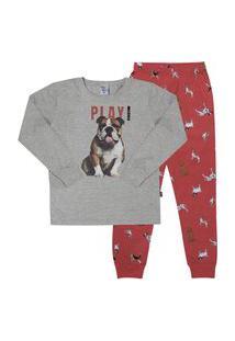 Pijama Meia Malha - 46570-567 - (1 A 3 Anos) Pijama Mescla Cinza - Primeiros Passos Menino Meia Malha Ref:46570-567-1