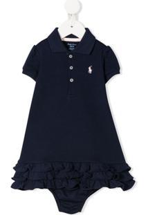 Ralph Lauren Kids Vestido Azul Com Logo Bordado