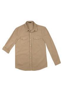 Camisa Hering Sarja Regular Com Bolsos Marrom