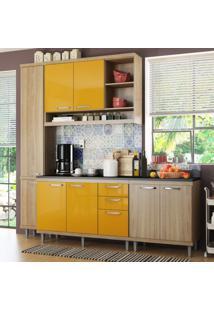 Cozinha Completa Com Balcão Com Tampo 5 Peças 8 Portas Sicília Multimóveis Argila/Amarelo