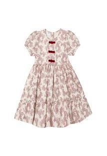 Vestido Linho Infantil Barbara Colorê Festa Off White Estampado Arabesco Vermelho