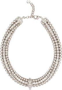 Miu Miu Crystal Embellished Necklace - Prateado