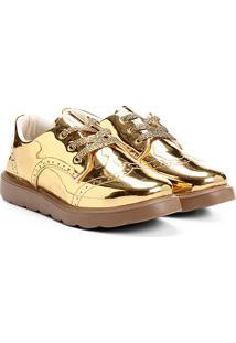 Sapato Klassipé Metalizado Infantil - Feminino-Dourado+Bege