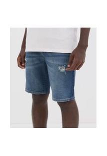 Bermuda Slim Com Puídos Em Jeans   Blue Steel   Azul   48
