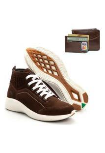Tenis Masculino Em Couro Jhon Boots Yeeze Sneakers Marrom + Carteira Em Couro