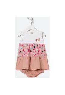 Vestido Infantil Recortes Maria Com Calcinha - Tam 0 A 18 Meses | Teddy Boom (0 A 18 Meses) | Multicores | 12-18M