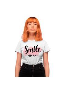 Camiseta Feminina Mirat Smile Eyelashes Branca