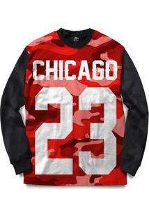 Blusa Bsc Chicago 23 Red Camo Full Print - Masculino