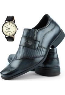 Sapato Social Dhl Calçados Perfuros Com Metal Masculino + Relógio - Masculino-Cinza