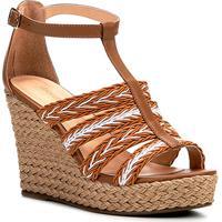 50fd6844aab Sandália Plataforma Couro Shoestock Tranças Feminina - Feminino-Off  White+Caramelo