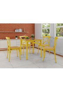 Conjunto De Mesa De Jantar Com 4 Cadeiras E Tampo De Vidro Katrina Amarelo