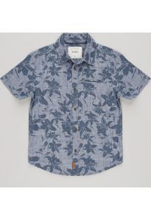 Camisa Infantil Estampada De Folhagens Com Bolso Manga Curta Azul Marinho