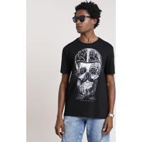 8b5157e44 CEA. Camiseta Masculina Caveira Manga Curta Gola Careca Preta
