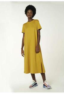 Vestido Básico Midi Manga Curta Amarelo